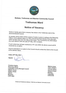 BTMCC Casual vacancy Corona - Trethomas May 2020 SIGNED